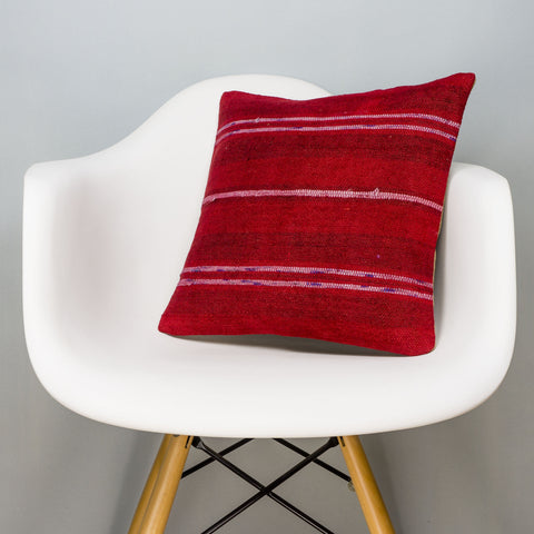 Striped Red Kilim Pillow Cover 16x16 2861 - kilimpillowstore
