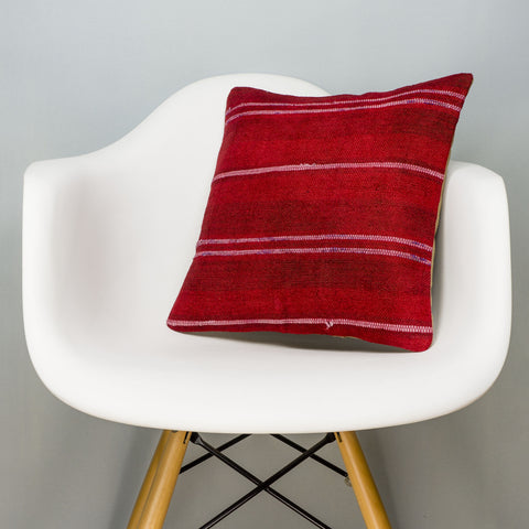 Striped Red Kilim Pillow Cover 16x16 2871 - kilimpillowstore