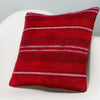 Striped Red Kilim Pillow Cover 16x16 2875 - kilimpillowstore
