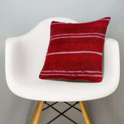 Striped Red Kilim Pillow Cover 16x16 2878 - kilimpillowstore