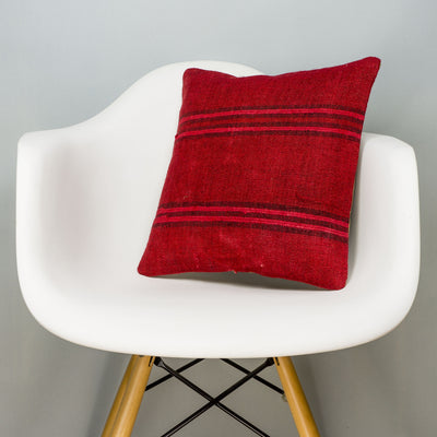 Striped Red Kilim Pillow Cover 16x16 2886 - kilimpillowstore