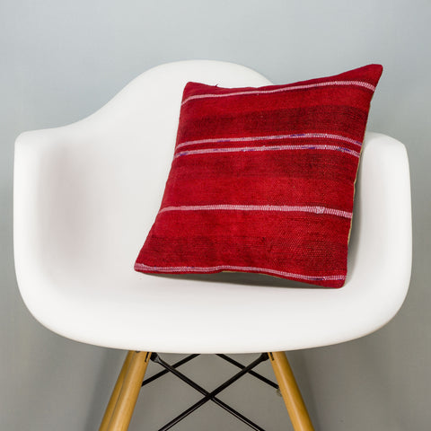 Striped Red Kilim Pillow Cover 16x16 2895 - kilimpillowstore