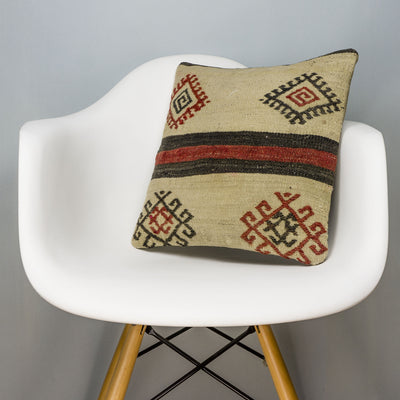 Tribal Beige Kilim Pillow Cover 16x16 3168 - kilimpillowstore