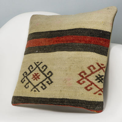 Tribal Beige Kilim Pillow Cover 16x16 3169 - kilimpillowstore