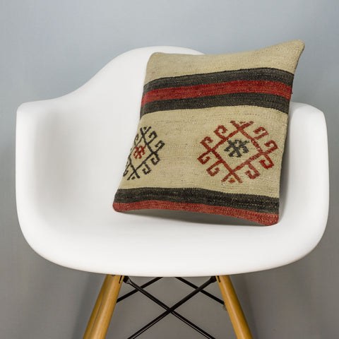 Tribal Beige Kilim Pillow Cover 16x16 3173 - kilimpillowstore