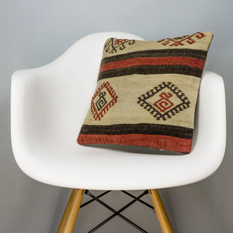 Tribal Beige Kilim Pillow Cover 16x16 3174 - kilimpillowstore