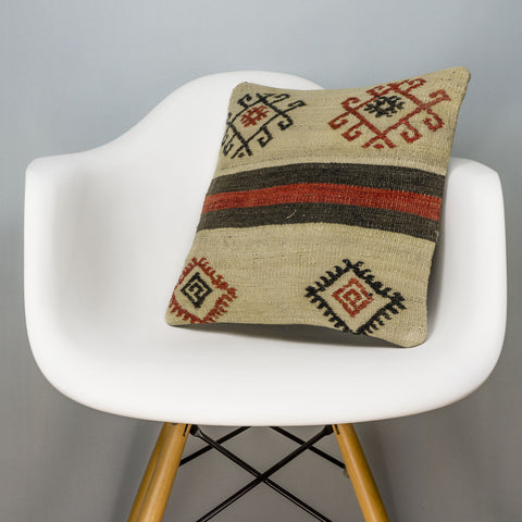 Tribal Beige Kilim Pillow Cover 16x16 3177 - kilimpillowstore