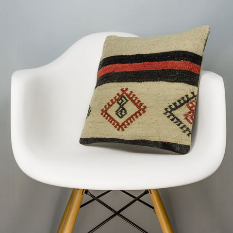 Tribal Beige Kilim Pillow Cover 16x16 3180 - kilimpillowstore