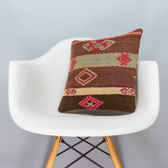 Tribal Brown Kilim Pillow Cover 16x16 3357 - kilimpillowstore  - 1
