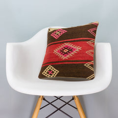 Tribal Brown Kilim Pillow Cover 16x16 3368 - kilimpillowstore  - 1