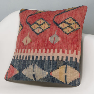 Tribal Multi Color Kilim Pillow Cover 16x16 3127 - kilimpillowstore