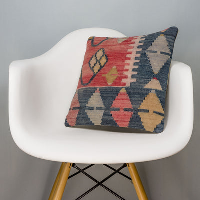 Tribal Multi Color Kilim Pillow Cover 16x16 3129 - kilimpillowstore