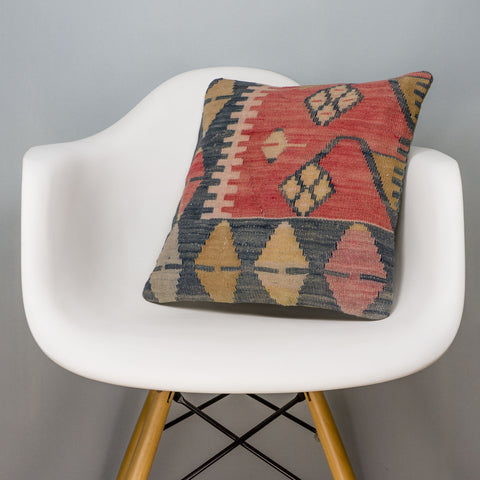 Tribal Multi Color Kilim Pillow Cover 16x16 3130 - kilimpillowstore