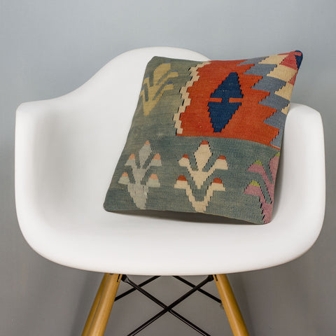 Tribal Multi Color Kilim Pillow Cover 16x16 3131 - kilimpillowstore