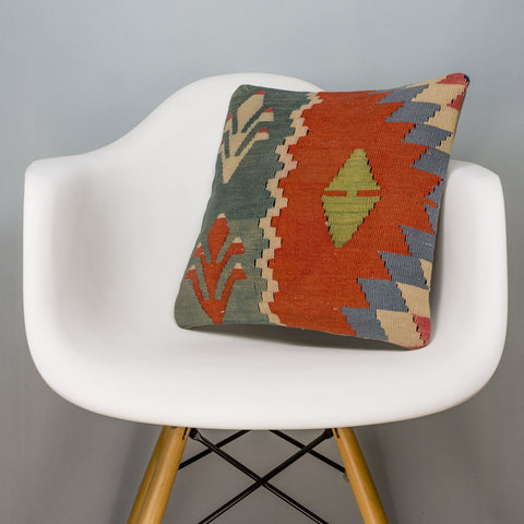 Tribal Multi Color Kilim Pillow Cover 16x16 3132 - kilimpillowstore