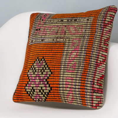Tribal Orange Kilim Pillow Cover 16x16 3150 - kilimpillowstore