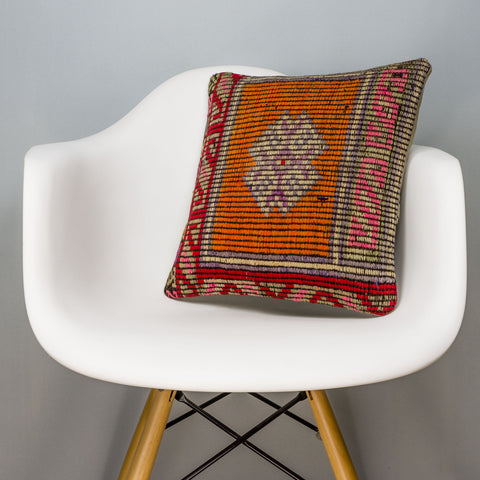 Tribal Orange Kilim Pillow Cover 16x16 3151 - kilimpillowstore