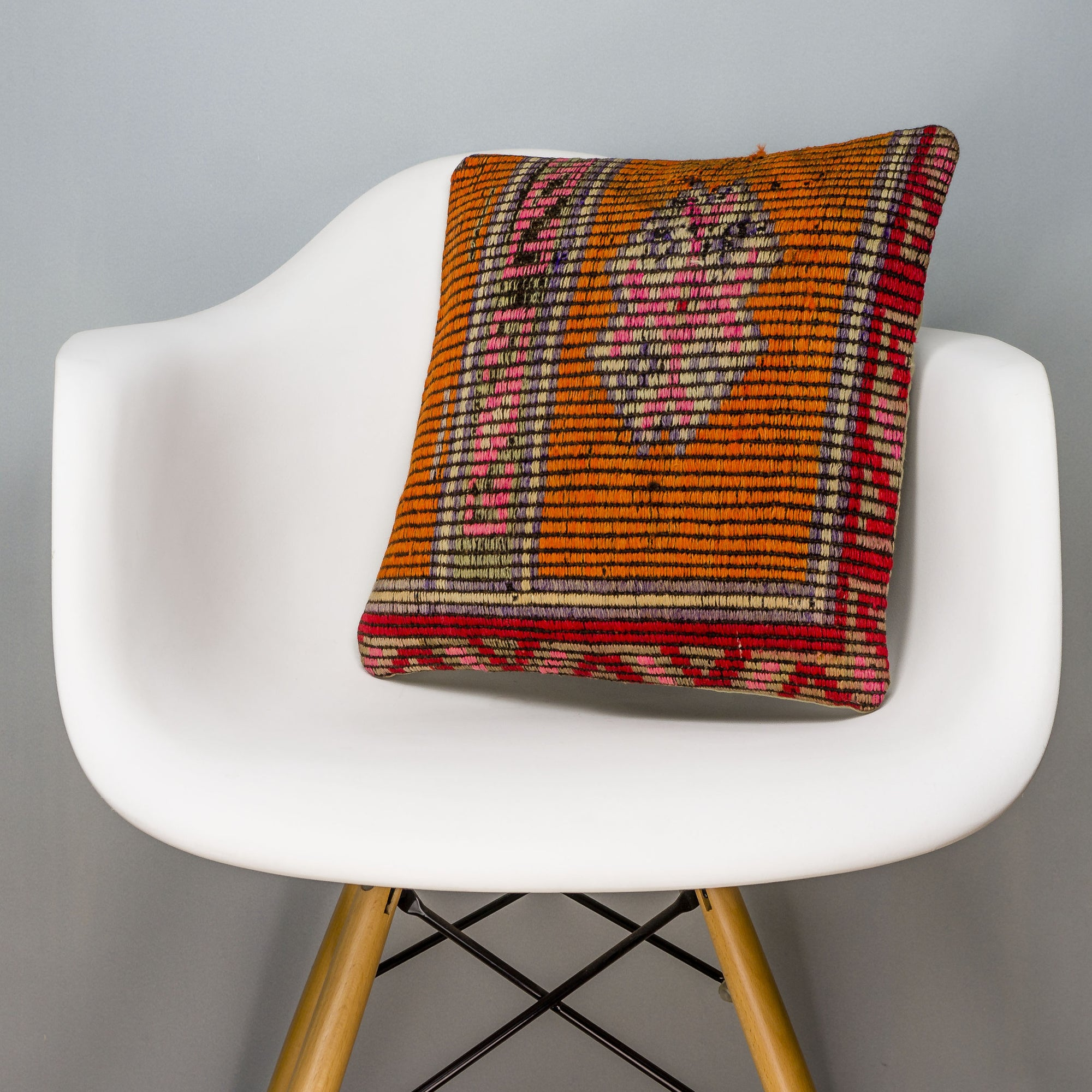 Tribal Orange Kilim Pillow Cover 16x16 3158 - kilimpillowstore