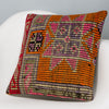 Tribal Orange Kilim Pillow Cover 16x16 3160 - kilimpillowstore