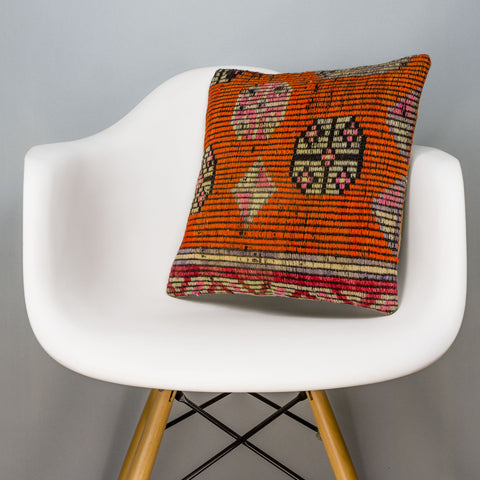 Tribal Orange Kilim Pillow Cover 16x16 3162 - kilimpillowstore