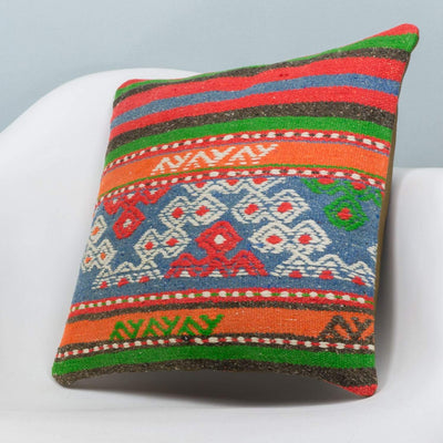 Anatolian Multi Color Kilim Pillow Cover 16x16 3644 - kilimpillowstore  - 2