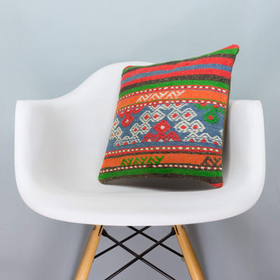 Anatolian Multi Color Kilim Pillow Cover 16x16 3644 - kilimpillowstore  - 1