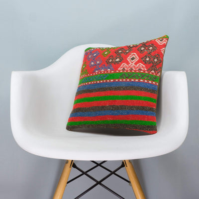 Anatolian Multi Color Kilim Pillow Cover 16x16 3648 - kilimpillowstore  - 1
