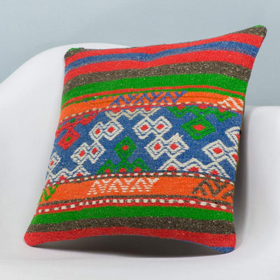 Anatolian Multi Color Kilim Pillow Cover 16x16 3653 - kilimpillowstore  - 2