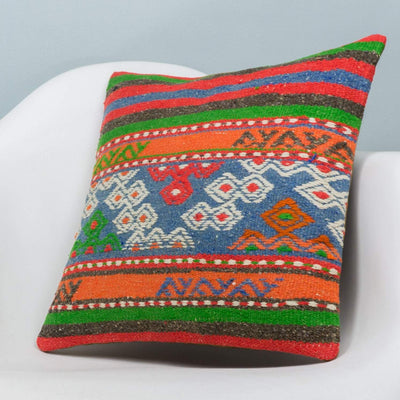Anatolian Multi Color Kilim Pillow Cover 16x16 3655 - kilimpillowstore  - 2
