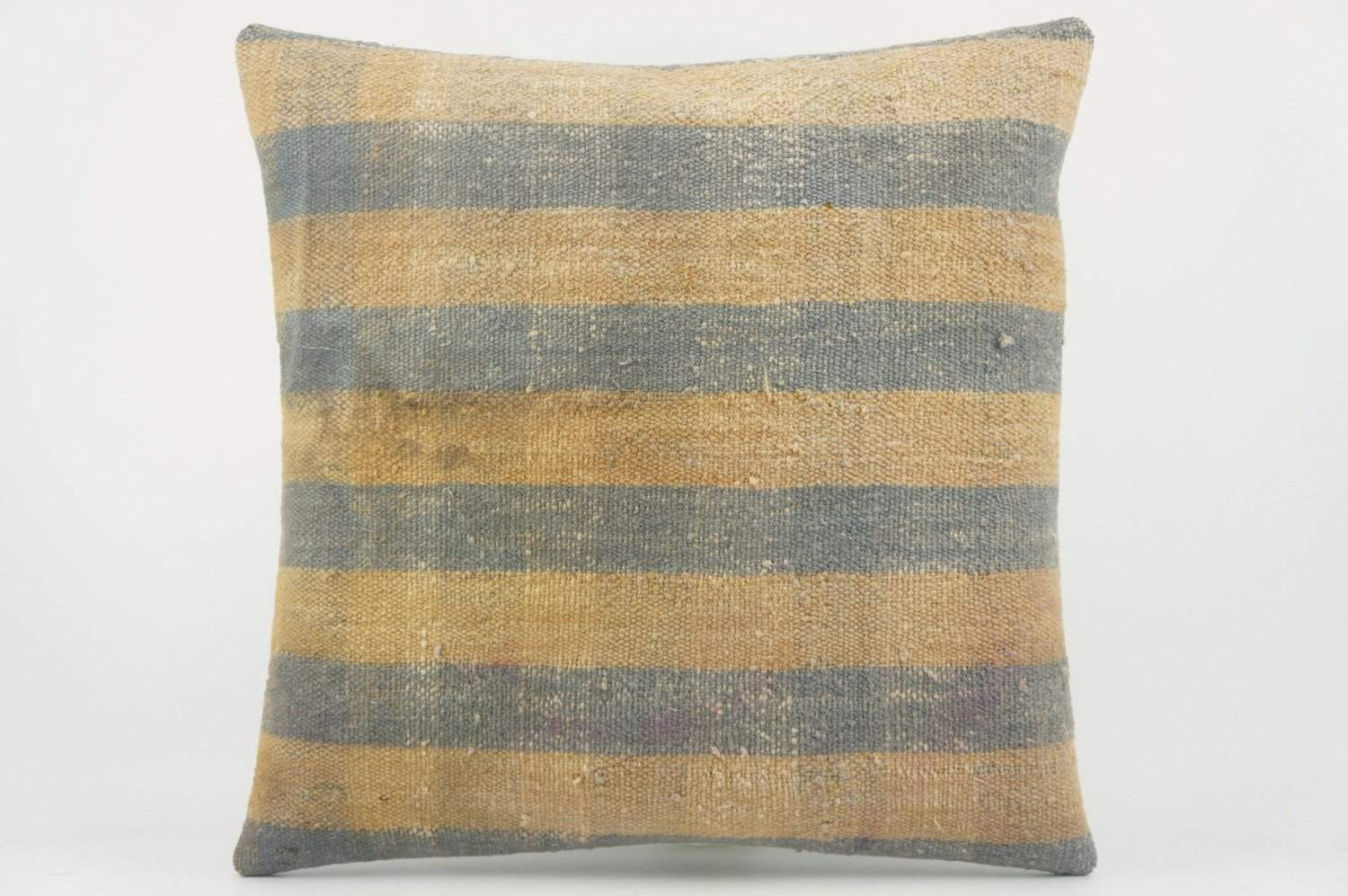 Blue striped mustard pillow , Decorative Kilim pillow  1517_A - kilimpillowstore  - 1