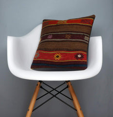 Brown,Striped  kilim pillow cover ,Boho  pillow ,Handwoven  pillow , Shabby chic home decor 2375 - kilimpillowstore  - 1