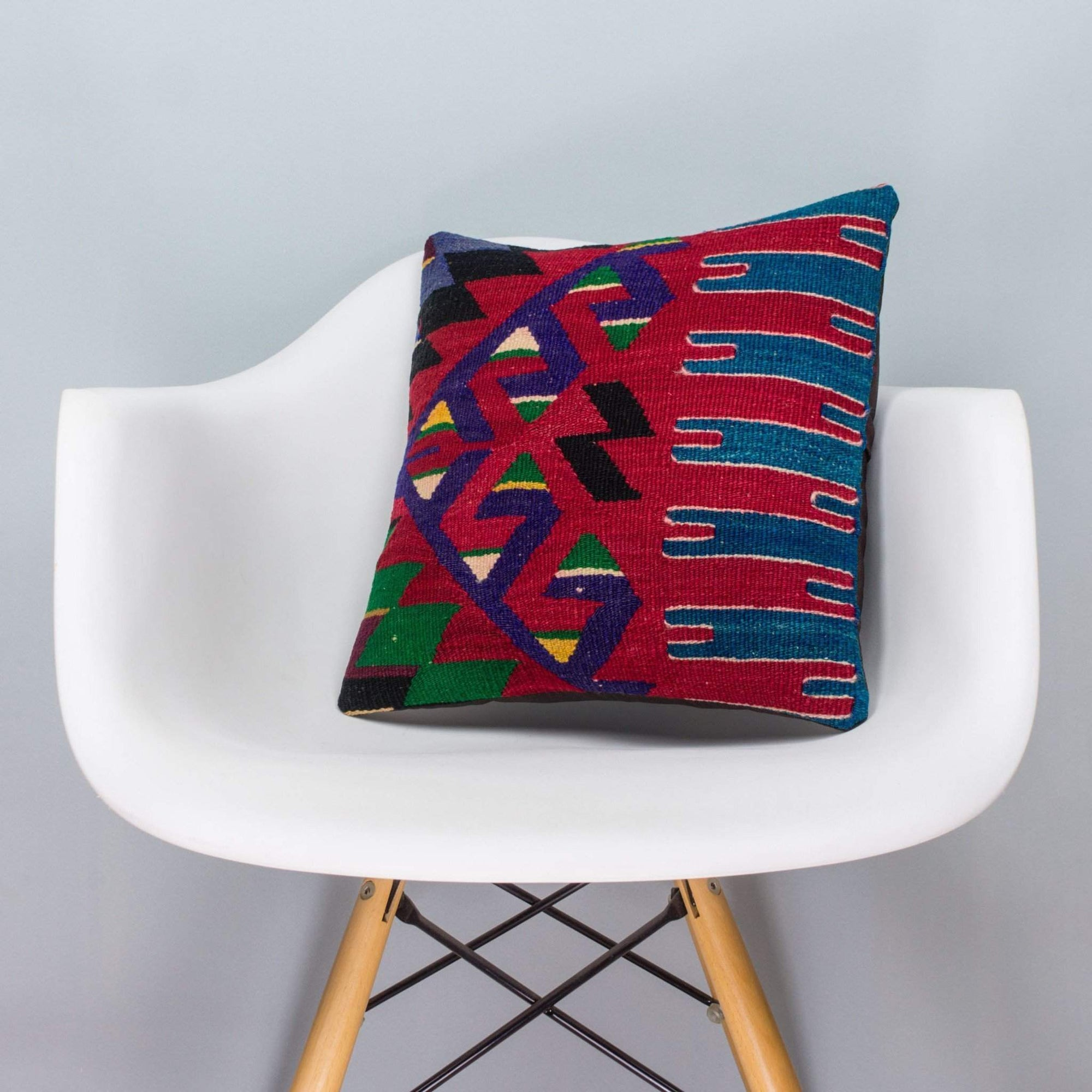 Chevron Multi Color Kilim Pillow Cover 16x16 3271