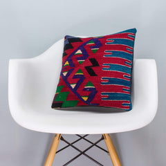 Chevron Multi Color Kilim Pillow Cover 16x16 3271 - kilimpillowstore  - 1