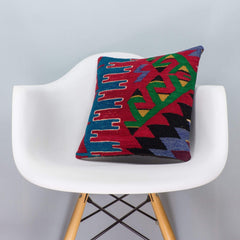 Chevron Multi Color Kilim Pillow Cover 16x16 3272 - kilimpillowstore  - 1