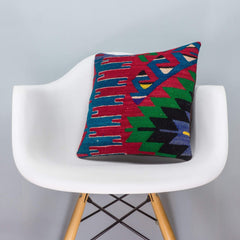 Chevron Multi Color Kilim Pillow Cover 16x16 3273 - kilimpillowstore  - 1