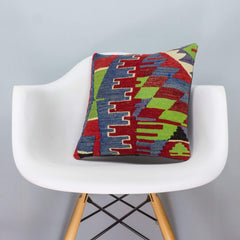 Chevron Multi Color Kilim Pillow Cover 16x16 3275 - kilimpillowstore  - 1