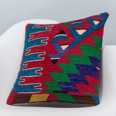 Chevron Multi Color Kilim Pillow Cover 16x16 3276 - kilimpillowstore  - 2