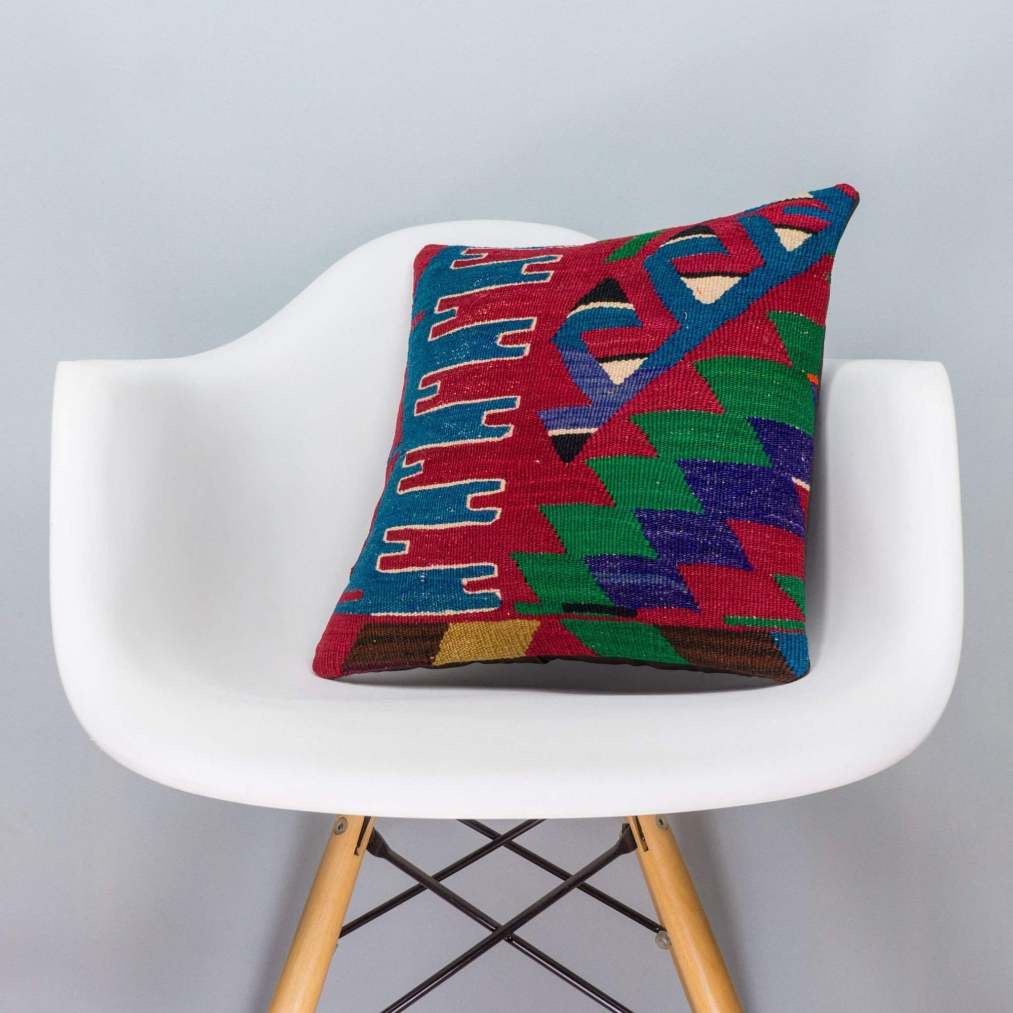 Chevron Multi Color Kilim Pillow Cover 16x16 3276