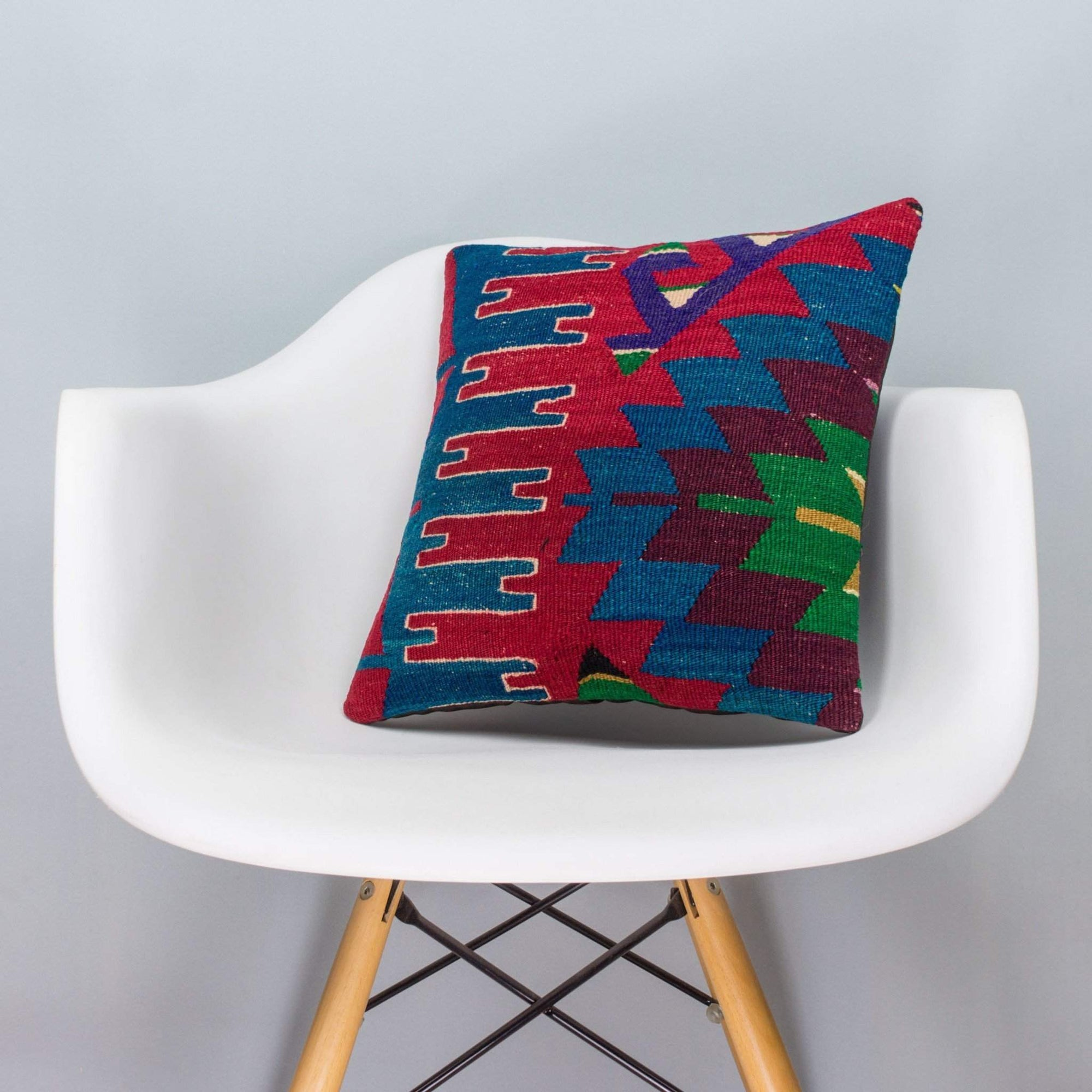 Chevron Multi Color Kilim Pillow Cover 16x16 3277