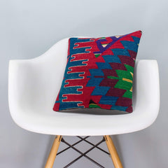 Chevron Multi Color Kilim Pillow Cover 16x16 3277 - kilimpillowstore  - 1