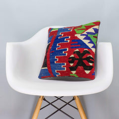 Chevron Multi Color Kilim Pillow Cover 16x16 3281 - kilimpillowstore  - 1
