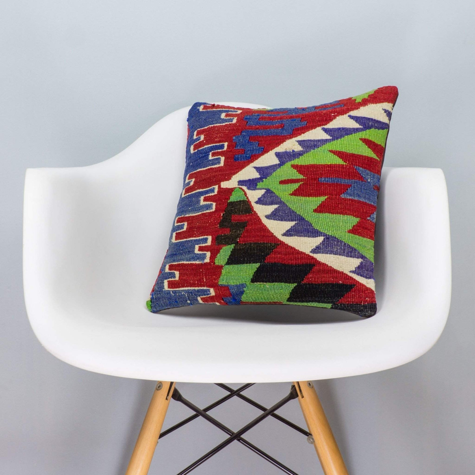Chevron Multi Color Kilim Pillow Cover 16x16 3284 - kilimpillowstore  - 1