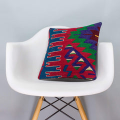 Chevron Multi Color Kilim Pillow Cover 16x16 3287 - kilimpillowstore  - 1