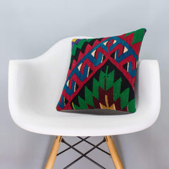 Chevron Multi Color Kilim Pillow Cover 16x16 3290 - kilimpillowstore  - 1