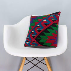 Chevron Multi Color Kilim Pillow Cover 16x16 3291 - kilimpillowstore  - 1