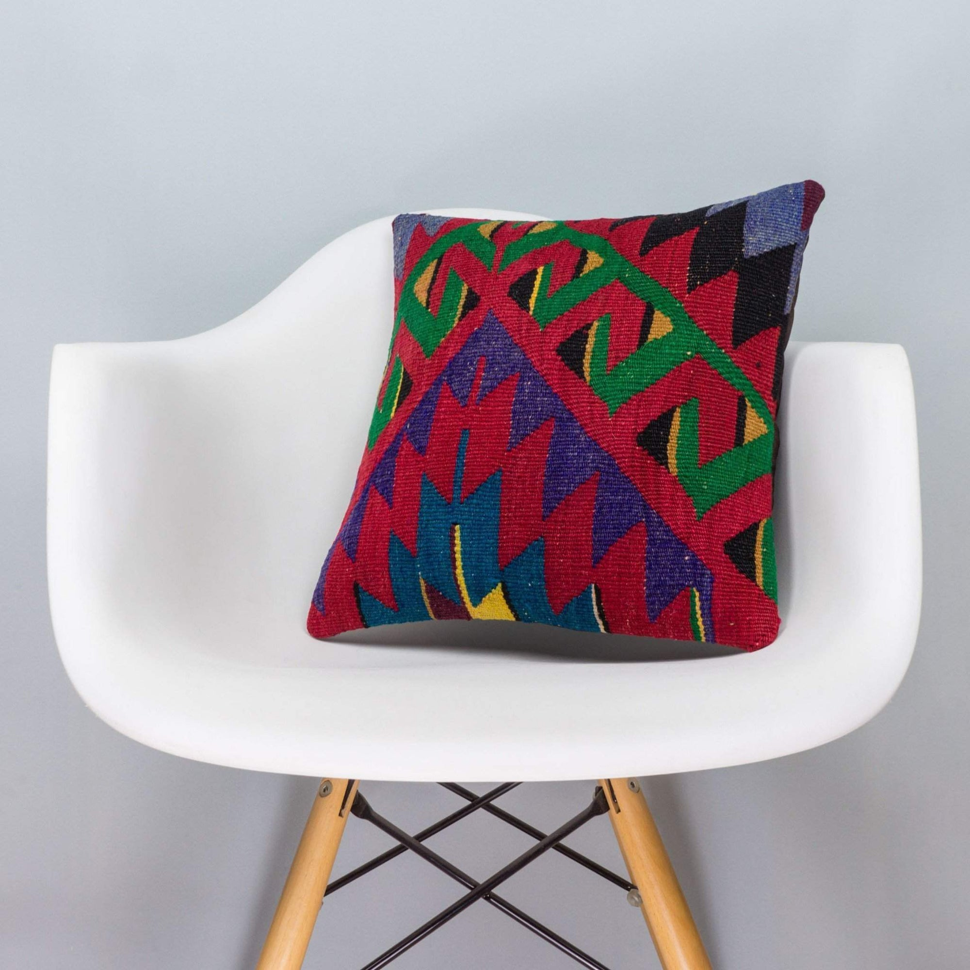 Chevron Multi Color Kilim Pillow Cover 16x16 3295 - kilimpillowstore  - 1