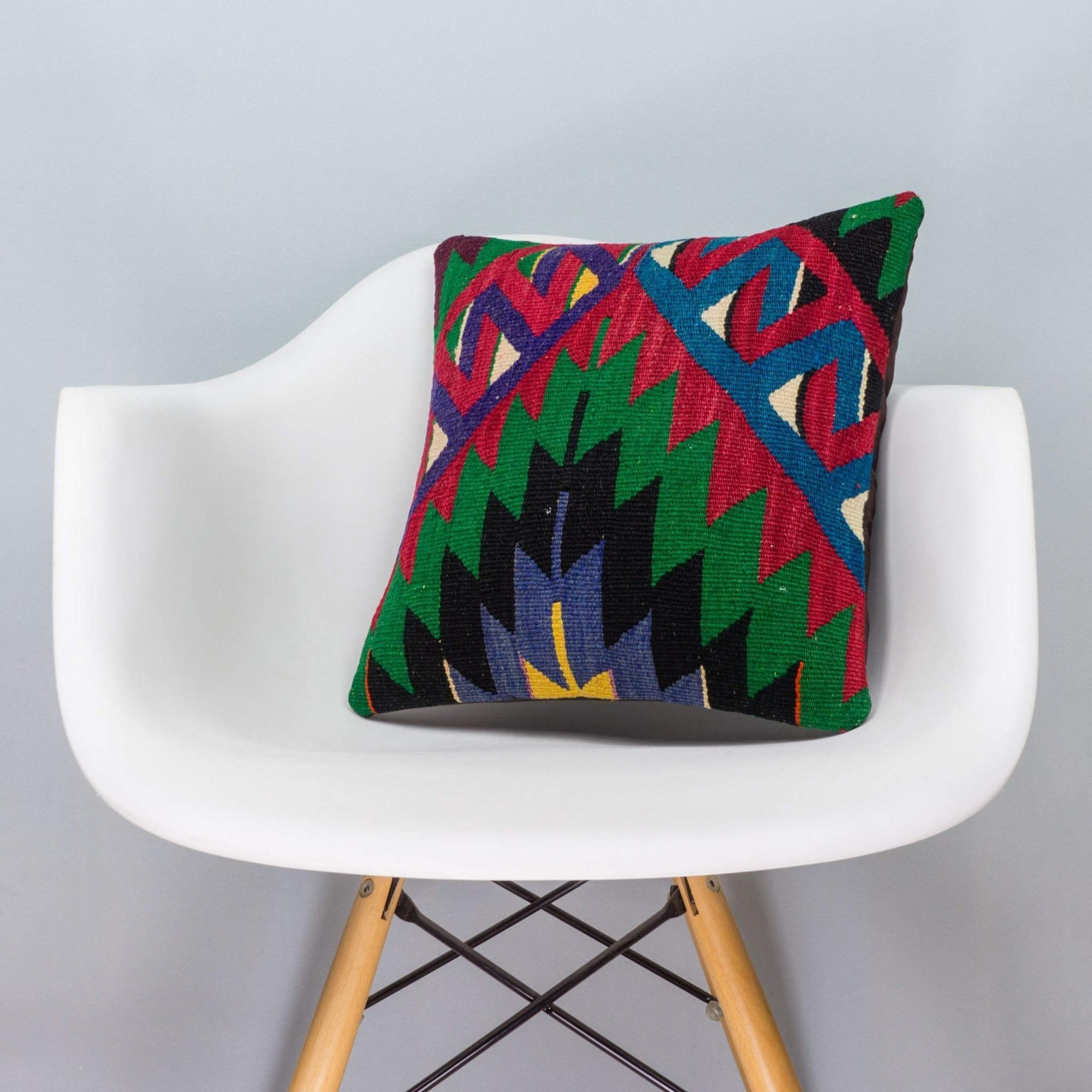 Chevron Multi Color Kilim Pillow Cover 16x16 3296 - kilimpillowstore  - 1