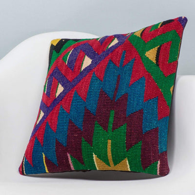 Chevron Multi Color Kilim Pillow Cover 16x16 3297 - kilimpillowstore  - 2