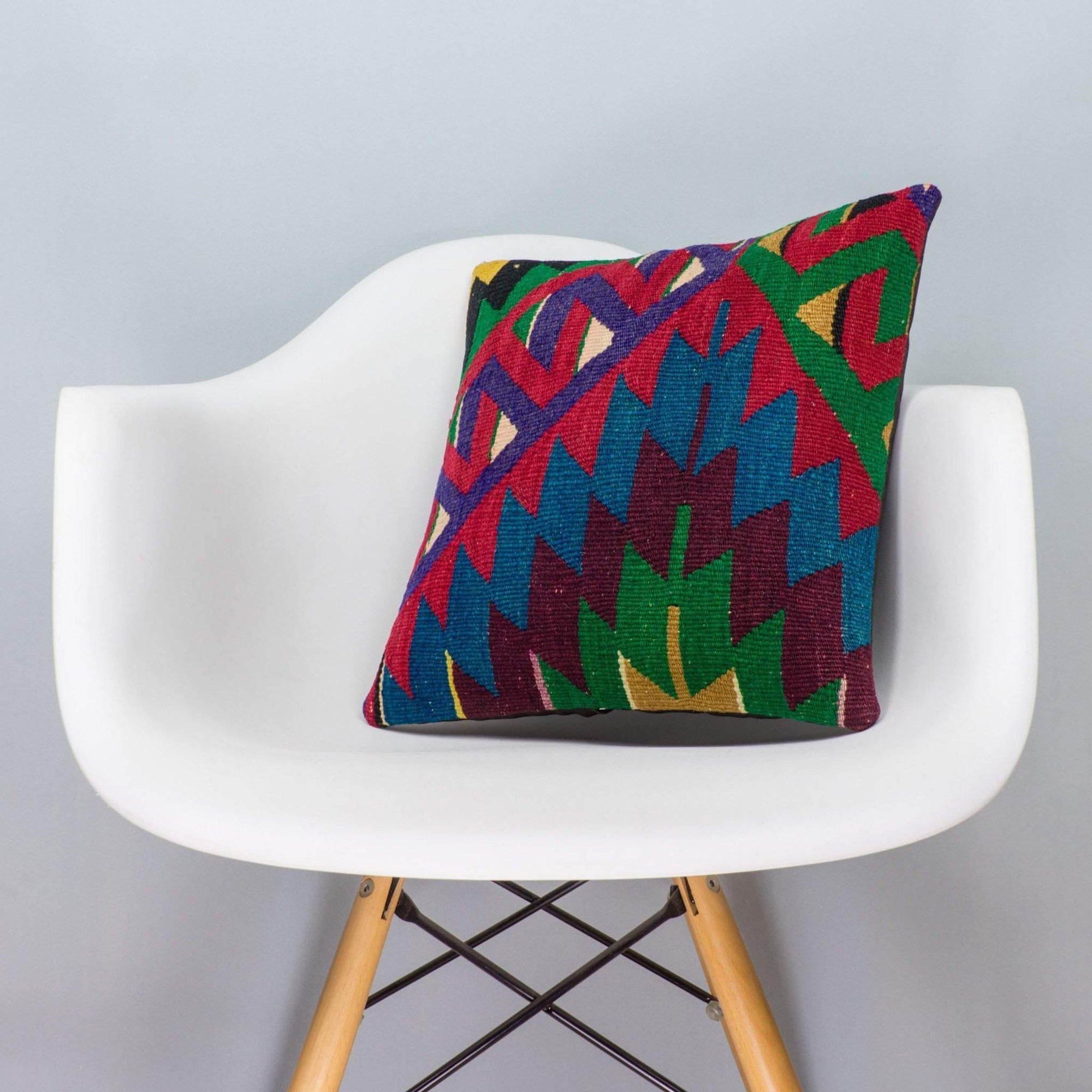 Chevron Multi Color Kilim Pillow Cover 16x16 3297 - kilimpillowstore  - 1