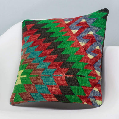 Chevron Multi Color Kilim Pillow Cover 16x16 3304 - kilimpillowstore  - 2